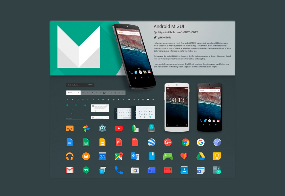 Android M Sketch GUI Kit