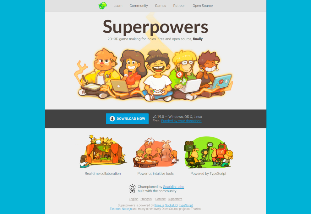 Superpowers: 2D & 3D Open Source Game Making Environment