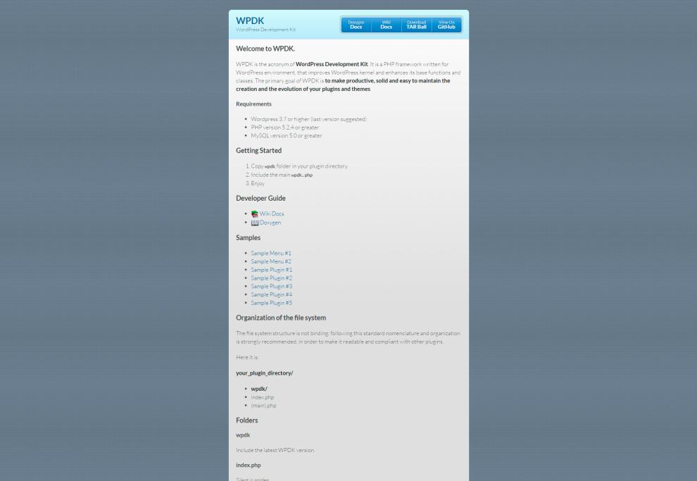 WPDK: WordPress Development Kit